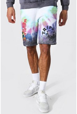 Multi Tall Loose Fit Worldwide Tie Dye Jersey Short