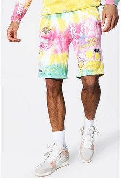 Yellow Tall Regular Fit Tie Dye Jersey Shorts