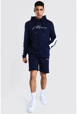 Navy Man Signature Contrast Panel Short Tracksuit