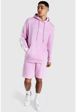 Pastel pink pink Man Signature Contrast Panel Short Tracksuit