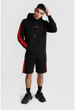 Black Man Signature Contrast Panel Short Tracksuit