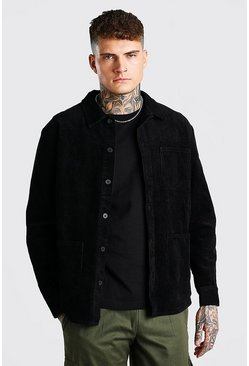Black Cord Button Through Over Shirt