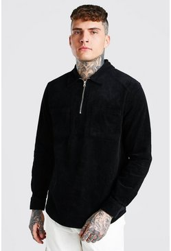 Black Cord Half Zip Over Shirt