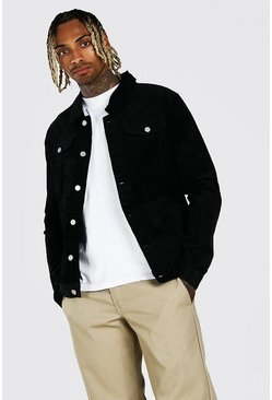 Black Regular Fit Cord Jacket