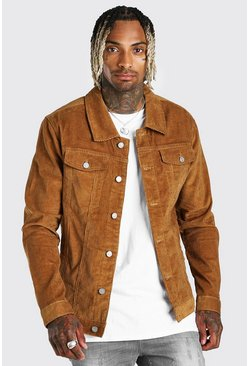 Tan brown Regular Fit Corduroy Jas