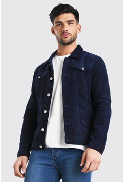 Navy Regular Fit Cord Jacket