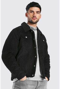 Black Regular Fit Fully Borg Lined Cord Jacket