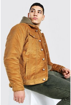 Tan brown Regular Fit Fully Borg Lined Cord Jacket