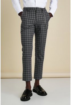 Charcoal grey Skinny Check Smart Trouser With Double Chain