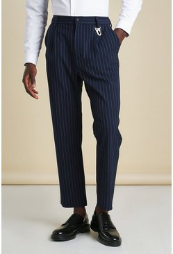 Navy Tapered Stripe Smart Trousers With Clip