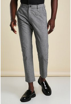 Charcoal grey Skinny Plain Cropped Smart O Ring Trouser
