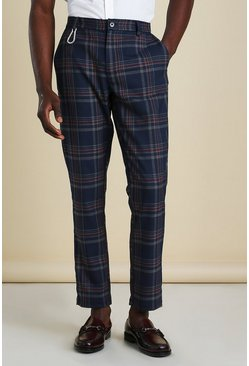 Navy Skinny Tartan Cropped Trousers With Carabiner