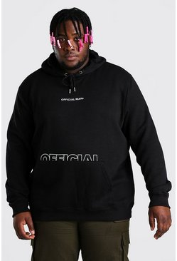 Black Plus Size Official MAN Printed Hoodie
