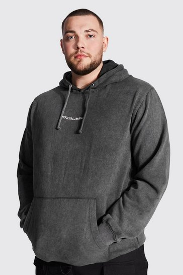 Black Plus Size Acid Wash MAN Sleeve Print Hoodie