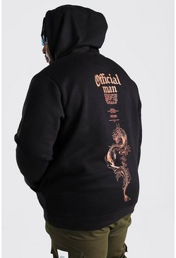Black Plus Size MAN Dragon Print Hoodie