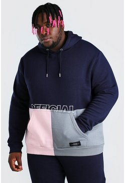 Navy Big And Tall Official MAN Colour Block Hoodie