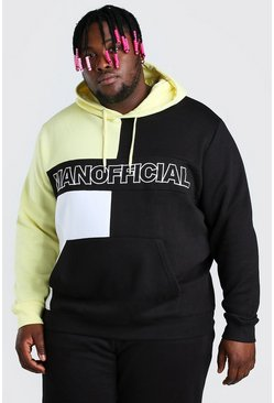 Black svart Plus Size MAN Official Colour Block Hoodie