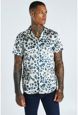 Stone beige Short Sleeve Revere Collar Leopard Satin Shirt
