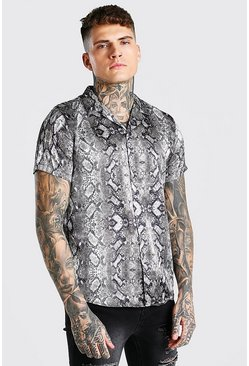 Grey Short Sleeve Revere Collar Snake Satin Shirt