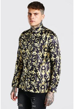 Black Long Sleeve Satin Baroque Shirt