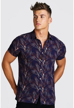 Navy Short Sleeve Palm Viscose Shirt