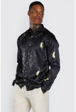 Black Long Sleeve Satin Tie Dye Shirt