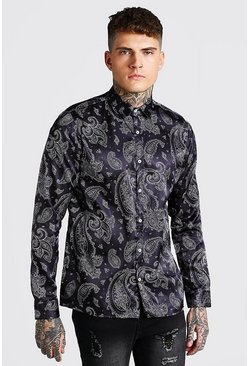Black Long Sleeve Satin Bandana Shirt