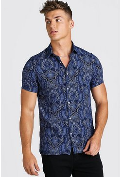 Navy Short Sleeve Viscose Paisley Shirt