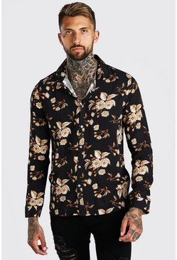 Black Long Sleeve Floral Viscose Shirt