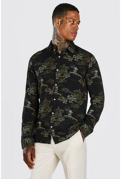 Black Long Sleeve Oriental Viscose Shirt