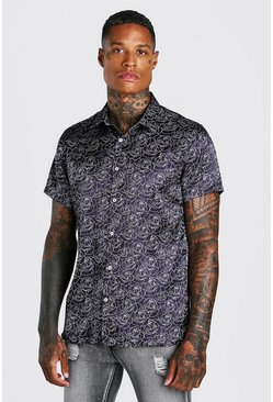 Black Short Sleeve Satin Floral Shirt