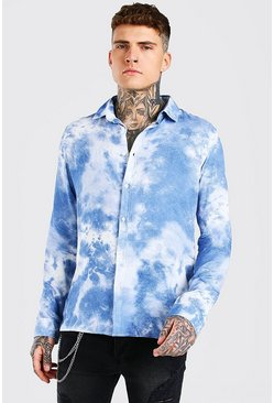 Blue Long Sleeve Viscose Tie Dye Shirt