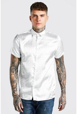 Stone beige Short Sleeve Dogtooth Satin Shirt