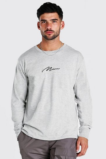 Grey marl grey MAN Signature Long Sleeve T-Shirt