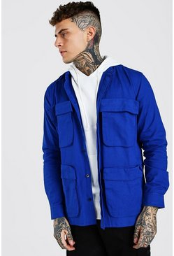 Cobalt blue Man 3D Pocket Utility Twill Shirt Jacket