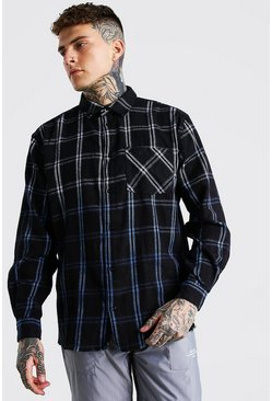 Navy Long Sleeve Oversized Ombre Check Shirt