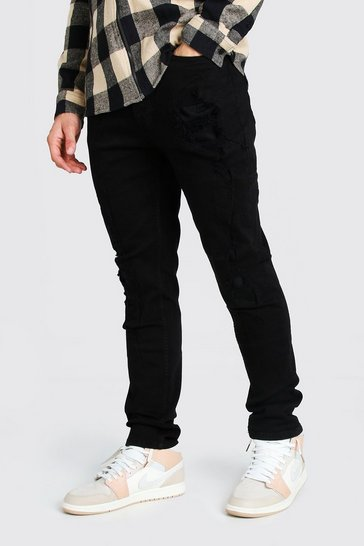 True black Super Skinny Distressed Rip And Repair Jeans