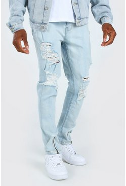 Ice blue Stretch Slim Ripped Jeans