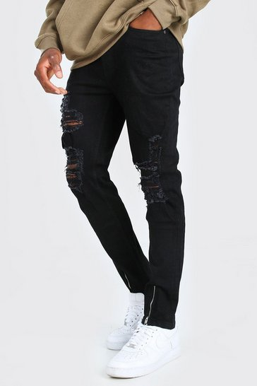 True black Skinny Jeans With All Over Rips
