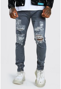 Dark grey grey Skinny Jeans With All Over Rips