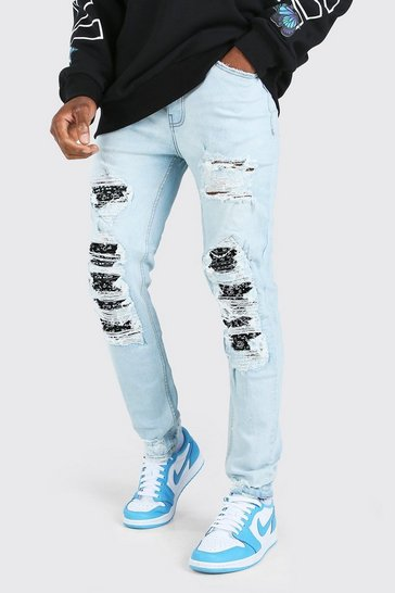 Ice blue Skinny Biker Rip And Repair Jeans With Bandana