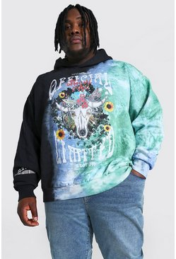 Black Plus Size Loose Fit Printed Tie Dye Hoodie