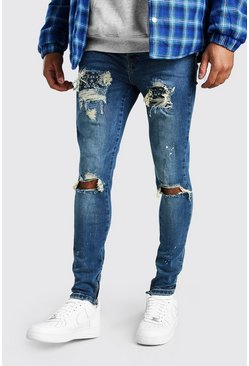 Mid blue blue Super Skinny Paint Bandana Rip And Repair Jeans