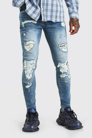 Mid blue blue Super Skinny Bandana Biker Rip And Repair Jeans