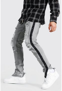 Dark grey grey Skinny Ripped Bandana Tape Jeans
