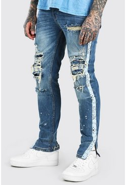 Mid blue blue Skinny Jeans With All Over Bleach Effect Rips