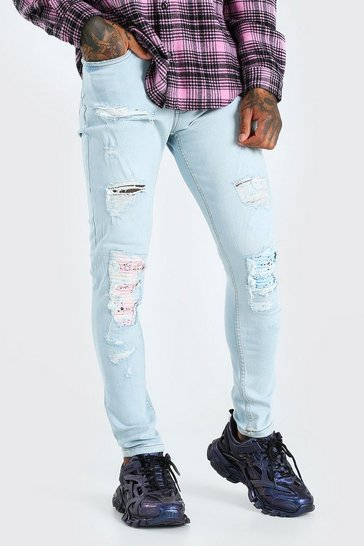 Ice blue Super Skinny Coloured Bandana Biker Jeans