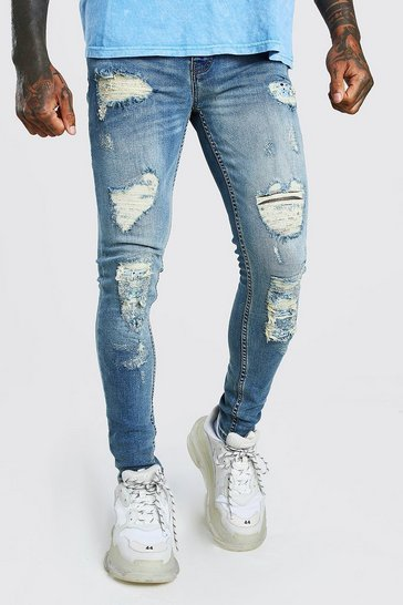 Mid blue blue Super Skinny Coloured Bandana Biker Jeans