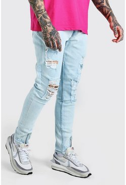 Ice blue Stretch Slim Distressed Jeans