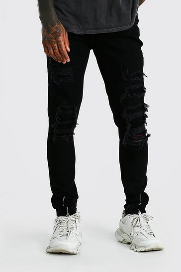 True black Super Skinny All Over Distressed Jeans